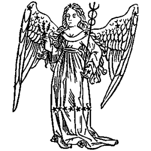 Old black and whie engraving of Virgo as angel
