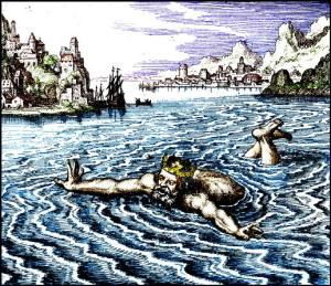 Old woodcut illustration of a king floating in a lake a symbolof solutio