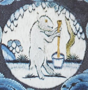 Old illustration of the white Moon Rabbit making the elixir of immortality in a pestle