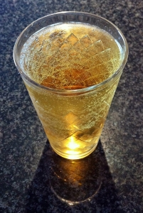 Closeup of glass of German cider