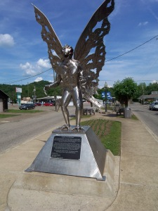 Silver colored Mothman statute in Point pleasant WVMothman