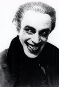 Conrad Veidt in makeup as Gwnplaine, inspiration for The Joker