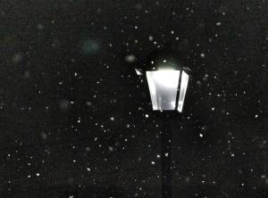 Snow flurries in front of old fashioned lamp in the dark