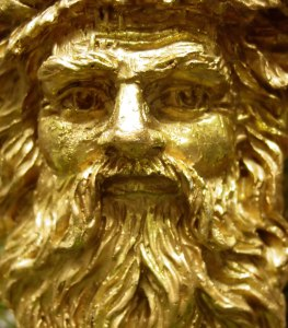 Close up of gilded face of St Nicholas