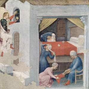 A painting by Gentile da Fabriano showing St Nicholas providing dowries to the three daughters