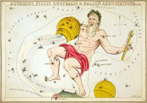 Aquaius star chart and illustration from Urania's Mirror by Sidney Hall 1825