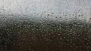 Rain running down a window screen