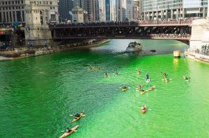 The Chicago river dyed bright green