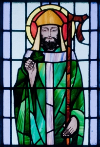 Stained glass window of St Patrick from St Benin's Church, Ireland