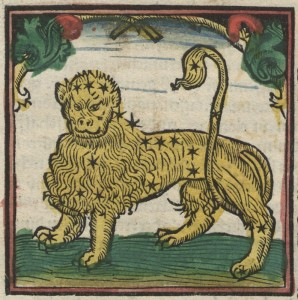 16 century woodcut of lion on paper