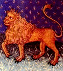 Lion image for Leo sign from medieval astrology manuscript