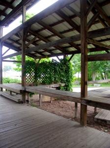 Empty farmer's market pavilion