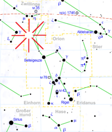 Star map of the Orion region