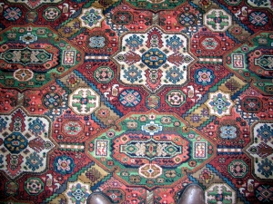Closeup of oriental rug pattern