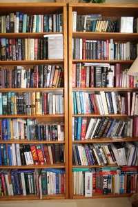 Two tall bookshelves full of books